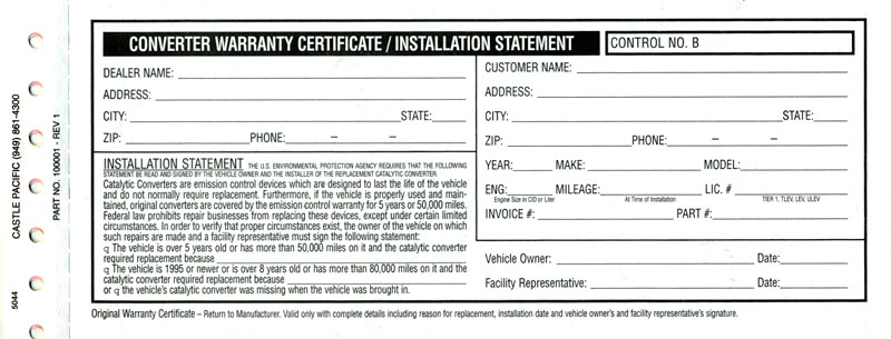 Magnaflow exhaust catalytic converter warranty registration form here is an example of the warranty card that came with your magnaflow product altavistaventures Gallery