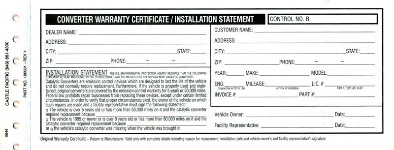 magnaflow exhaust catalytic converter warranty registration form. Black Bedroom Furniture Sets. Home Design Ideas