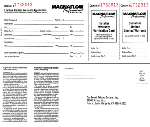Magnaflow performance exhaust warranty registration form here is an example of the warranty card that came with your magnaflow product thecheapjerseys Choice Image