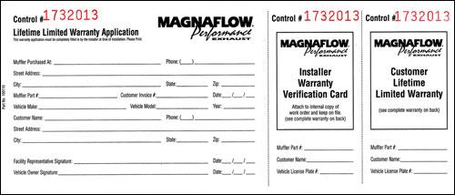 Magnaflow Performance Exhaust Warranty Registration Form